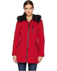 Calvin Klein - Faux Fur Trimmed Anorak Softshell (crimson) Women's Coat - Lyst