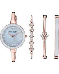 Anne Klein - Ak-3352gyst (grey/rose Gold-tone) Watches - Lyst