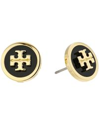 Tory Burch - Lacquered Raised Logo Stud Earrings - Lyst