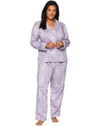 Lauren by Ralph Lauren - Plus Size Classic Woven Long Sleeve Pointed Notch Collar Pajama Set (lilac Print) Women's Pajama Sets - Lyst