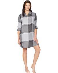 cd8940b87991d Donna Karan - Flannel Nightshirt (charcoal Heather Plaid) Women s Pajama -  Lyst