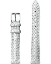 Michele - 16mm Metallic Braided Leather Strap Silver - Lyst