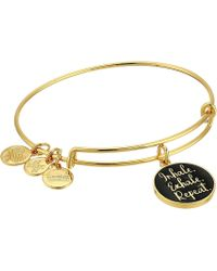 ALEX AND ANI - Words Are Powerful Inhale Exhale Repeat Bangle (shiny Gold) Bracelet - Lyst