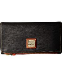 Dooney & Bourke - Pebble Fold-over Wallet (glacier Blue/tan Trim) Wallet Handbags - Lyst