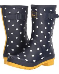 Joules - Mid Molly Welly (navy Spot Rubber) Women's Rain Boots - Lyst