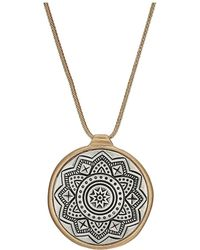 The Sak - Etched Inlay Pendant Necklace 28 (two-tone Gold) Necklace - Lyst