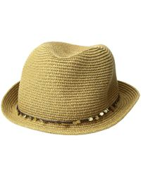8bc1e54158c Tommy Bahama - Paper Braid Fedora With Sequins Trim (toast) Fedora Hats -  Lyst