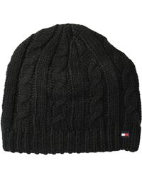 Tommy Hilfiger - Chunky Fleece Lined Cable Hat (black) Caps - Lyst