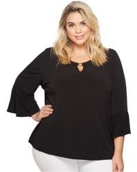 CK Calvin Klein - Plus Size Ruffle Sleeve Top With Bar Hardware - Lyst