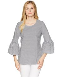 CALVIN KLEIN 205W39NYC - Even Stripe W/ Bell Sleeve Blouse - Lyst
