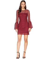 Laundry by Shelli Segal - Lace Cocktail Dress With Bell Sleeves (burgundy) Women's Dress - Lyst