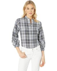 Lauren by Ralph Lauren - Plaid Twill Puff-sleeve Shirt (black/white Multi) Women's Clothing - Lyst