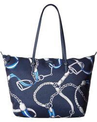 ef19d9f6ba Lauren by Ralph Lauren - Chadwick Tote (navy Signature Belting Print) Tote  Handbags -