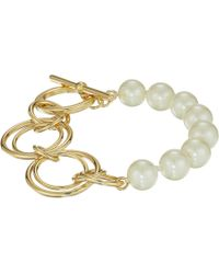Lauren by Ralph Lauren - Pearl Update Metal Link Toggle Bracelet (gold/white) Bracelet - Lyst
