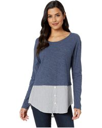 Two By Vince Camuto - Long Sleeve Classic Stripe Hem Mix Media Top (indigo Night Heather) Women's Long Sleeve Pullover - Lyst