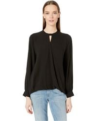Eileen Fisher - Mock Neck Long Sleeve Top W/ Overlap Front (black) Women's Clothing - Lyst
