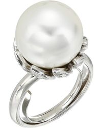Kenneth Jay Lane - Rhodium With Rhinestone White Pearl Center Ring (white Pearl) Ring - Lyst