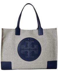 a42777ff245 Lyst - Tory Burch Ella Beaded-logo Tote in Blue