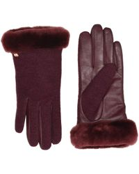 UGG - Short Italian Wool Blend Tech Gloves With Long Pile Sheepskin Trim (black) Extreme Cold Weather Gloves - Lyst