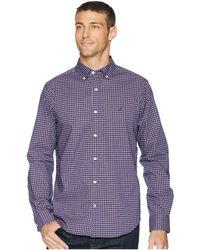 Nautica - Long Sleeve Wear To Work Mini Plaid Woven Shirt (j Navy) Men's Clothing - Lyst