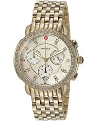Michele - Sidney Diamond Bezel Gold Plated Stainless Steel Watch (gold) Watches - Lyst