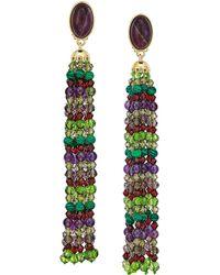 Lauren by Ralph Lauren - Beaded Tassel Clip Earrings - Lyst