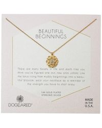 Dogeared - Beautiful Beginnings, Detailed Lotus Charm With Crystal Inset Necklace - Lyst
