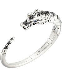 John Hardy - Legends Naga Kick Brushed Cuff With Black Sapphire (silver) Bracelet - Lyst