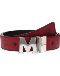 MCM - Claus Reversible Silver Buckle Belt - Lyst