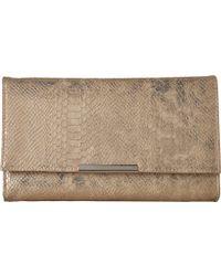 Jessica Mcclintock - Nora Metallic Snake Large Envelope Clutch (gold) Clutch Handbags - Lyst