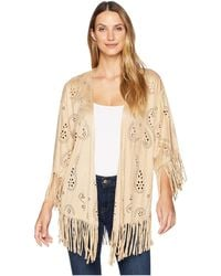 Wrangler - Laser Cut Paisley Poncho (tan) Women's Clothing - Lyst