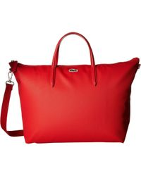 Lacoste - L.12.12 Concept Strap Large Shopping Bag (high Risk Red) Handbags - Lyst