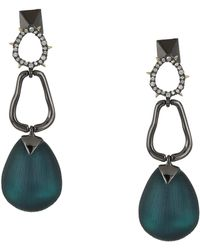 Alexis Bittar - Crystal Encrusted Link Drop Post Earrings (dark Cyan) Earring - Lyst
