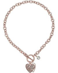 Guess - Logo Overlay On Pave Heart Charm Toggle Front Necklace - Lyst