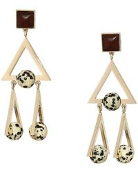 Tory Burch - Studded Stone Geo Statement Earrings (tory Gold/jasper) Earring - Lyst