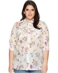 Lauren by Ralph Lauren - Plus Size Floral Cotton-blend Shirt (chalk Multi) Women's Clothing - Lyst