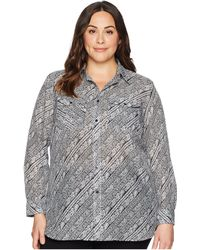 Lauren by Ralph Lauren - Plus Size Silk Cotton Voile Long Sleeve Shirt - Lyst