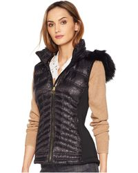 MICHAEL Michael Kors - Zip Front Vest With Faux Fur Trim Hood Ma820357cd (black) Women's Vest - Lyst