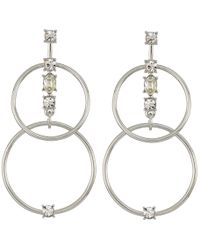 Guess - Linked Rings Earrings With Stone Accents - Lyst