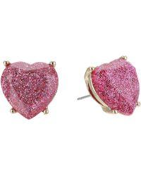Betsey Johnson - Pink Sparkle Heart Stud Earrings (pink) Earring - Lyst