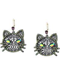 Betsey Johnson - Cat Drop Earrings (black) Earring - Lyst