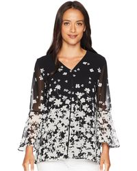 Calvin Klein - Printed V-neck W/ Pearls (black/white) Women's Blouse - Lyst