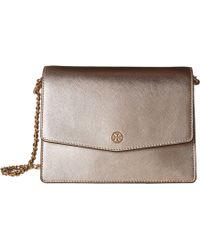 Tory Burch - Robinson Metallic Shoulder Bag (light Rose Gold) Shoulder Handbags - Lyst