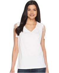 Lauren by Ralph Lauren - Ruched Shoulder Tank Top - Lyst