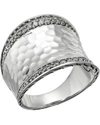 John Hardy - Classic Chain Hammered Diamond Pave Small Saddle Ring - Lyst