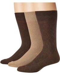 Cole Haan - Textured Argyle Crew 3-pack (chestnut Heather/camel Heather/chestnut Heather 1) Men's Crew Cut Socks Shoes - Lyst