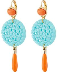 Kenneth Jay Lane - 7849ectcp Small Gold And Top With Carved And Drop Wire Earrings (coral/turquoise) Earring - Lyst