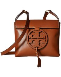 66f2379245cc0a Lyst - Tory Burch Mcgraw Royal Navy Mixed Suede   Leather Carryall ...