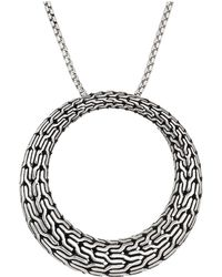 John Hardy - Classic Chain Large Round Pendant On 1.6 Mm. Box Chain Necklace (silver) Necklace - Lyst