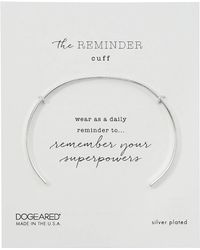 Dogeared - The Reminder Thin Engraved Cuff Bracelet, Remember Your Super Power (silver) Bracelet - Lyst
